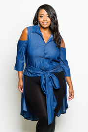 Plus Size Cold Shoulder Chambray Button Down Hi Lo Collar Tie Shirt