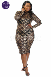 Plus Size Sexy In Pattern Midi Cocktail Dress