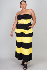 Plus Size Double Bow Contrast Flared Striped Jumpsuit