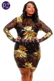 Plus Size Sexy Fall Leaves Sequin Mini Dress