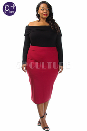 Plus Size Solid Midi Tube Skirt