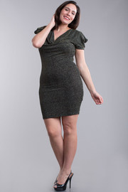 Plus Size Sparkle Puffed Sleeved Bodycon Dress