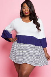 Plus Size Solid & Striped Tiered Top