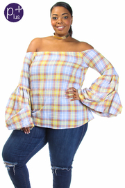 Plus Size Off Shoulder Plaid Bell Sleeved Top