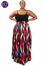 Plus Size Abstract Lined Scuba Maxi Skirt