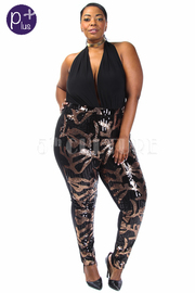 Plus Size Sexy In Solid & Sequin Glam Halter Jumpsuit