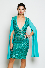 Deep V Cocktail Sequin Cape Sleeved Midi Dress