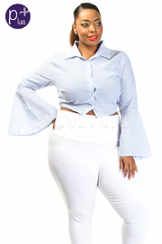Plus Size Striped Button Down Tie Back Bell Cuff Shirt