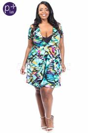Plus Size V-neck Aztec Flowy Summer Dress