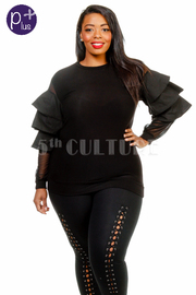 Plus Size Tango Ruffle Long Sleeved Top