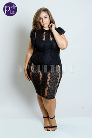 Plus Size Fully Lacey Vintage Midi Ruffle Dress