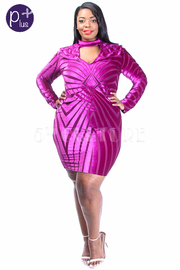Plus Size Sexy In Velvet Abstract Lines Tube Dress