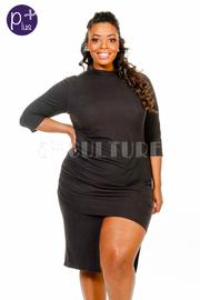 Plus Size High Neck Hi Lo Side Slit Fit Dress
