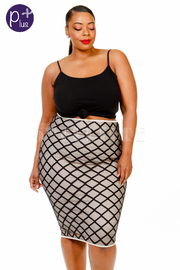 Plus Size Diamond Midi Tube Skirt
