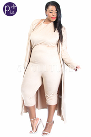 Plus Size 2-Piece Suede Capri Jumpsuit With Long Tie Cardigan Set