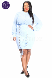 Plus Size Sexy Sheer & Tie Up Midi Bodycon Dress