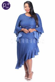 Plus Size Vertical Ruffle Midi Chambray Dress