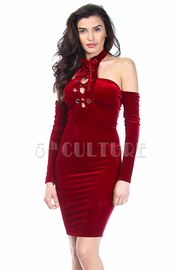 Cold Shoulder Tie Up Sexy Velvet Tube Dress