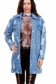 Distressed Casual Denim Jacket