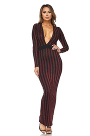 Sexy V Glittery Striped Cocktail Maxi Dress