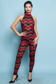 Lacey Pattern Halter High Neck Jumpsuit