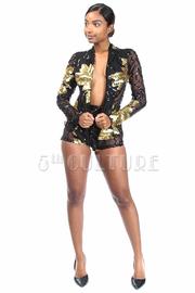 2-Piece Sequin Leaf Blazer Mini Shorts Set