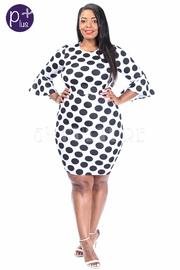 Plus Size Contrast Polka Dot Fit Dress