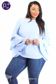 Plus Size Casual Spring Ruffled Bell Sleeved Top