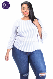 Plus Size Thin Striped Tunic Top