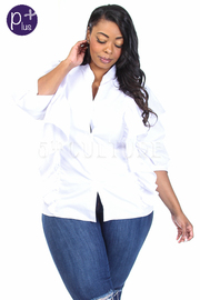 Plus Size Ruffle Button Down Solid Shirt