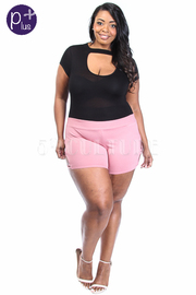 Plus Size Summer Mini Caged Sided Shorts