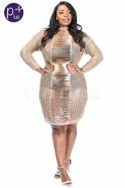 Plus Size Ramie Knitted Metallic See Through Midi Dress