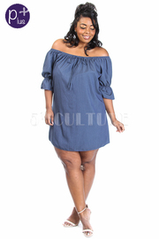 Plus Size Off Shoulder Mini Chambray Dress