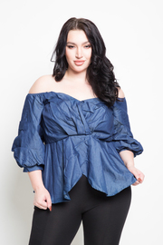 Plus Size Sweetheart Denim Peplum Chambray Top