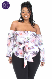 Plus Size Off Shoulder Romantic Roses Tie Waist Top