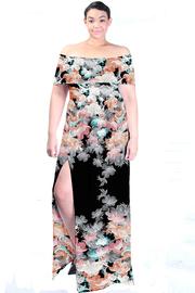 Plus Size Off Shoulder Floral Printed Slit Maxi Dress