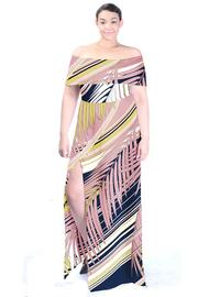 Plus Size Off Shoulder Summer Palms Printed Slit Dress