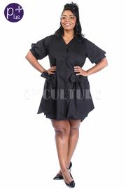Plus Size Button Down Bows Sides Flowy Shirt Dress