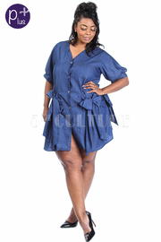Plus Size Chambray Button Down Bows Trim Shirt Dress