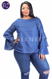 Plus Size Ruffled Tango Denim Top