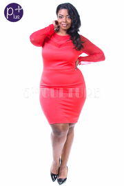 Plus Size Mesh Sleeved Trim Solid Midi Dress