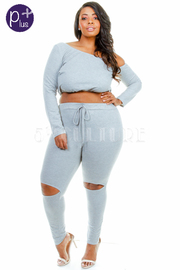 Plus Size Sexy In 2-Piece Ripped Knee Jogger Cropped Leggings Set