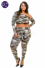Plus Size Classic Military Knee Ripped Jogger Cropped Pants Set