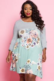 Plus Size Striped & Floral Tunic Jersey Dress