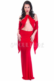 Sexy Cutout Cold Shoulder Cocktail Maxi Gown