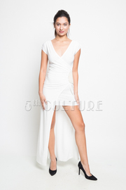 Pearled Goddess Overlap Hi Lo Maxi Dress