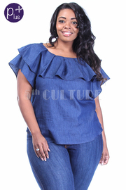 Plus Size Ruffled Summer Denim Top