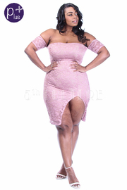 Plus Size Pretty In Laced Off Shoulder Slit Dress