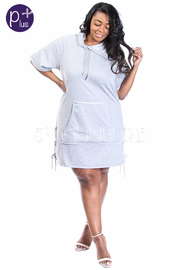 Plus Size Hooded Casual Terry Tie Straps Tunic Dress
