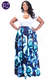 Plus Size Roses Scuba Skater Maxi Skirt